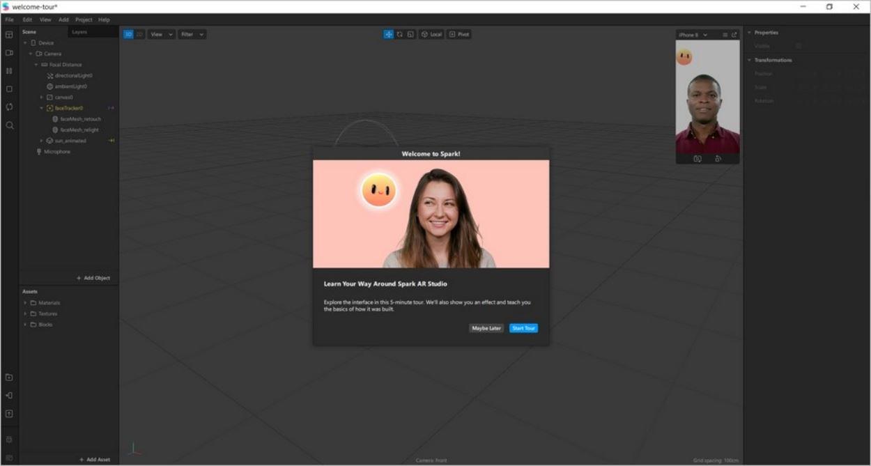 L'interface de Spark AR Studio