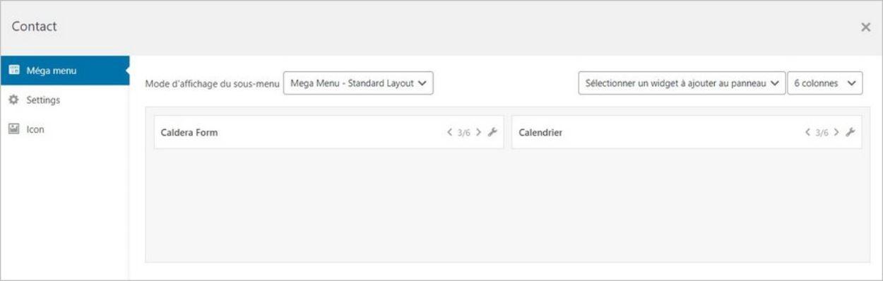 Ajouter un widget dans un sous-menu