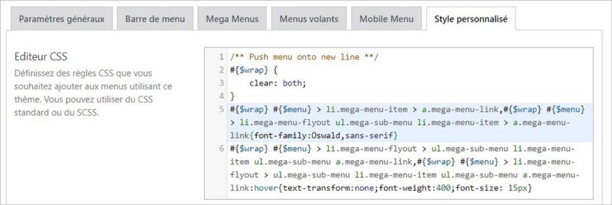 CSS personnalisé sur Max Mega Menu