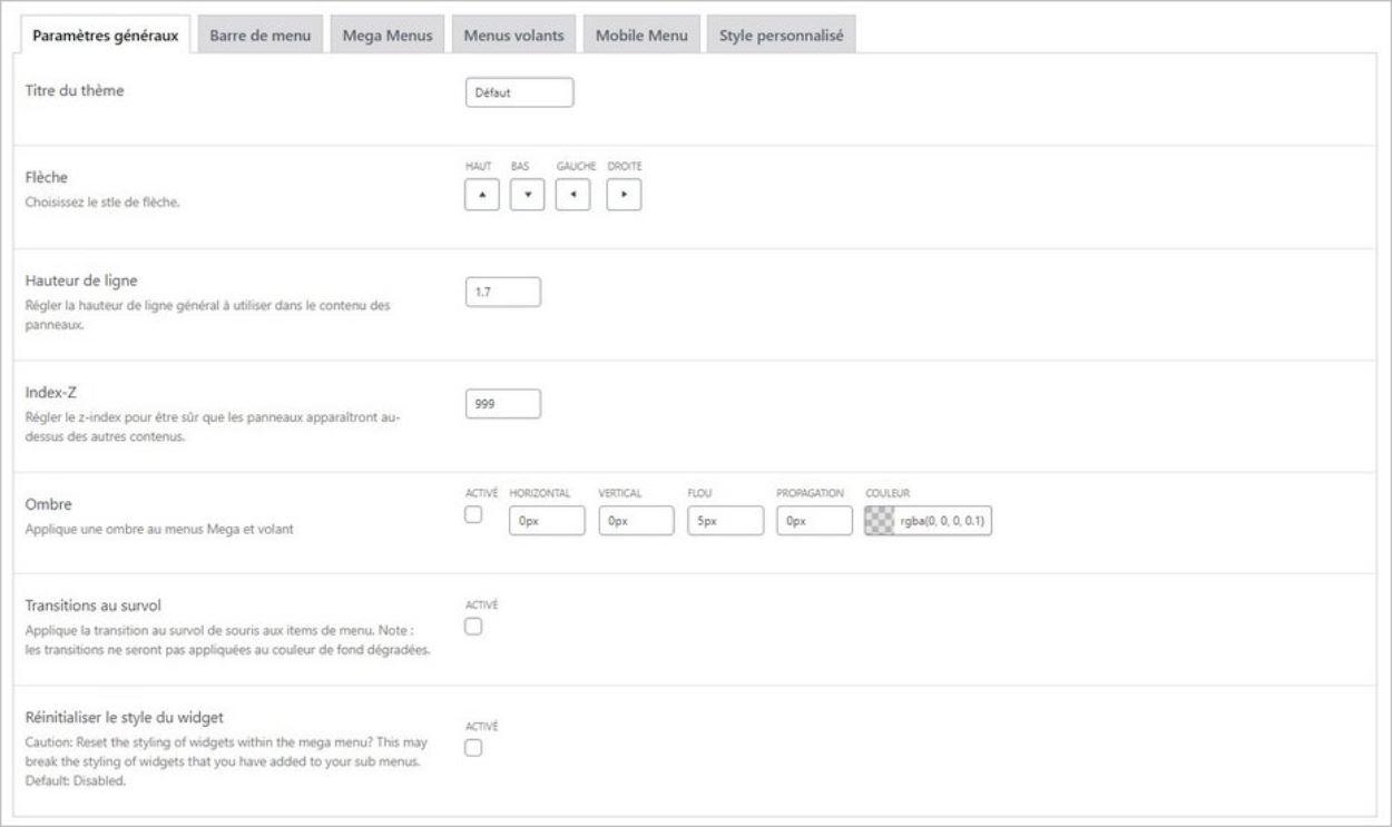 Design du menu déroulant WordPress