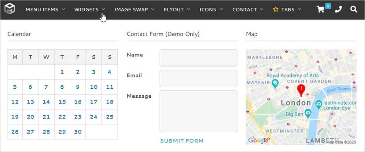 Exemple de sous-menu avec widgets