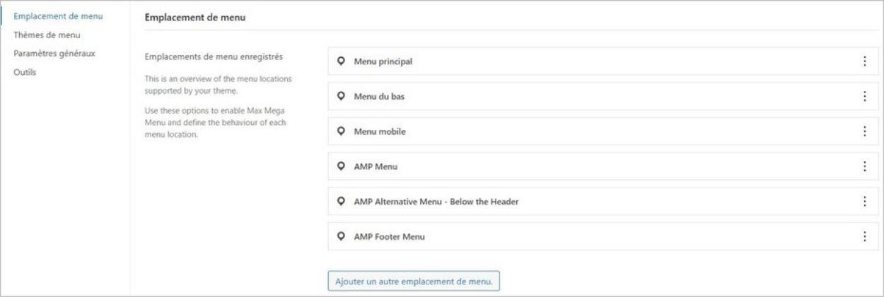Gestion des emplacements de menus WordPress