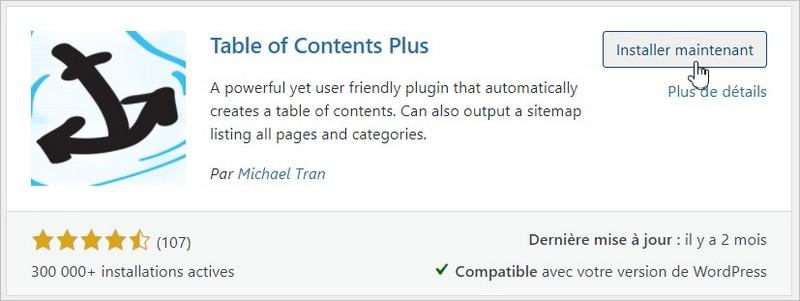 Installation de Table Of Contents Plus