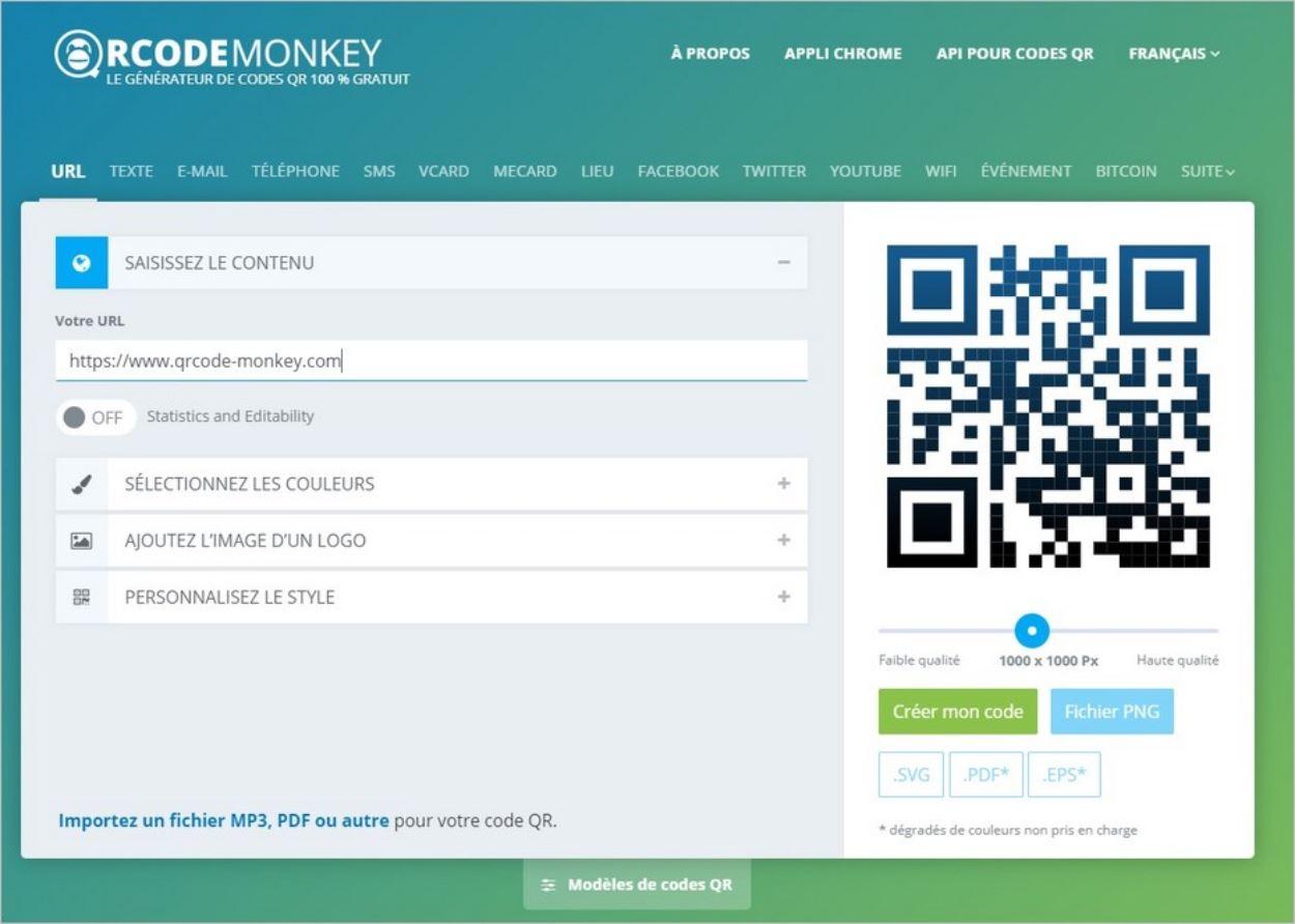 QRCode Monkey, générateur de QR Codes